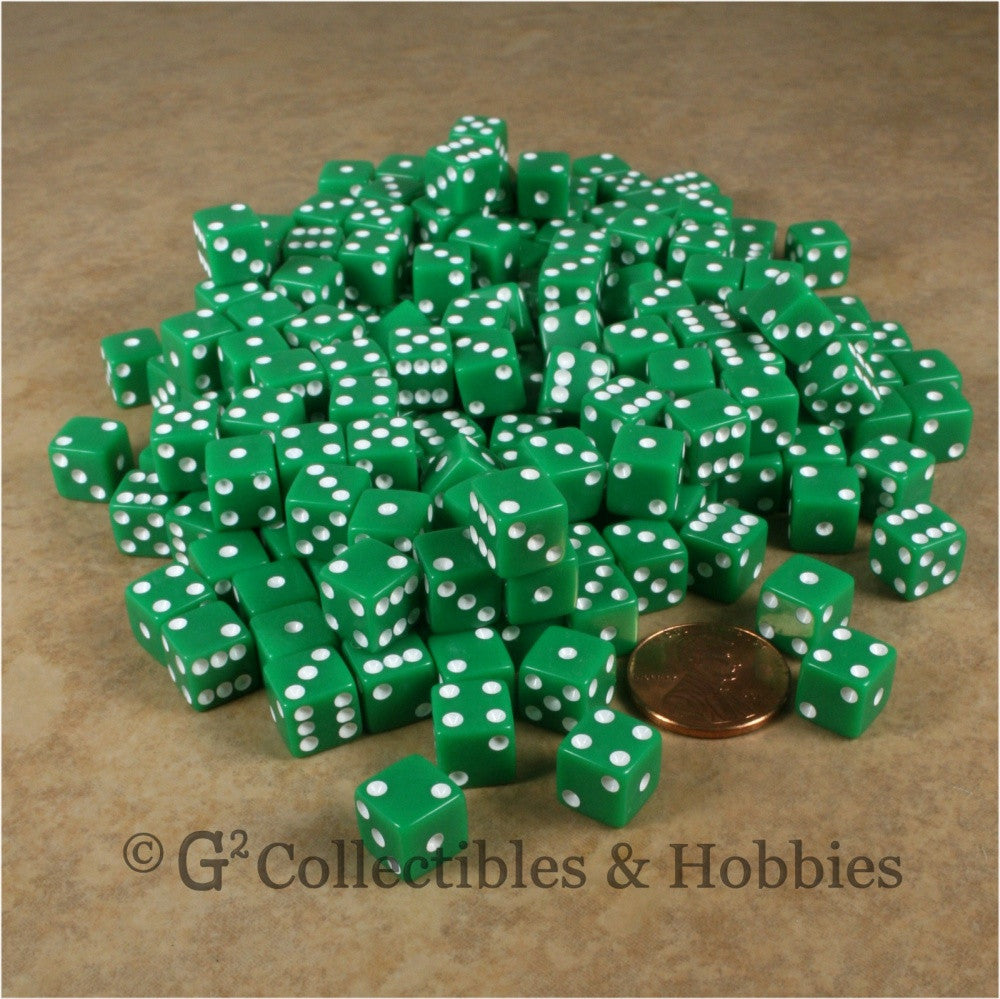 D6 8mm Opaque Green with White Pips 200pc Bulk Set