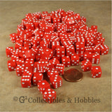 D6 8mm Opaque Red with White Pips 200pc Bulk Dice Set
