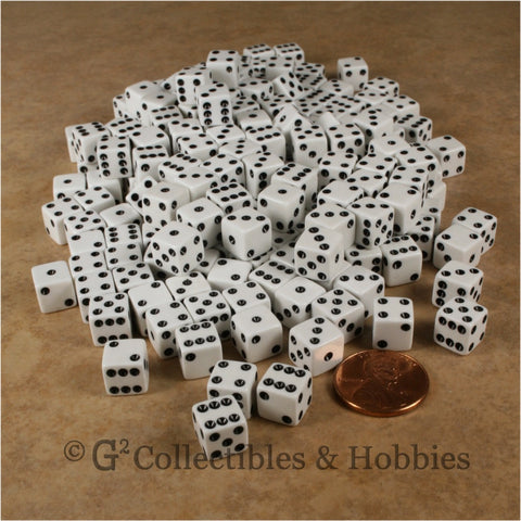 D6 8mm Opaque White with Black Pips 200pc Bulk Set