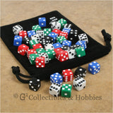 D6 8mm Opaque Multicolored with White/Black Pips 50pc Dice & Bag Set