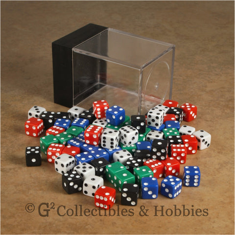 D6 8mm Opaque Multicolored with White/Black Pips 80pc Dice Set