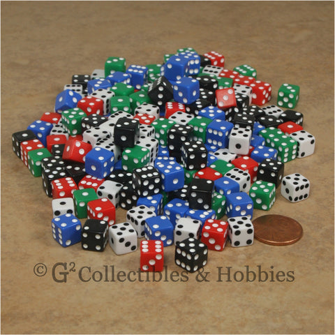 D6 8mm Opaque Multicolored with White/Black Pips 200pc Bulk Dice Set