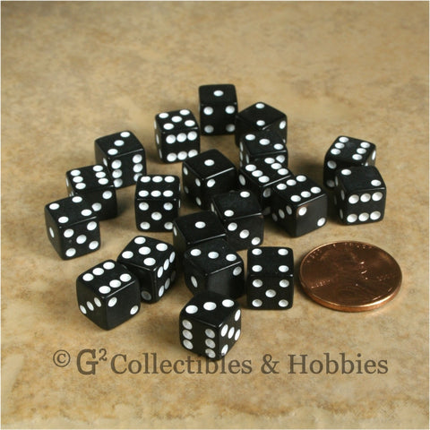 D6 8mm Opaque Black with White Pips 20pc Dice Set