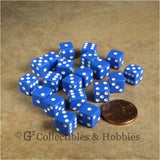 D6 8mm Opaque Blue with White Pips 20pc Dice Set
