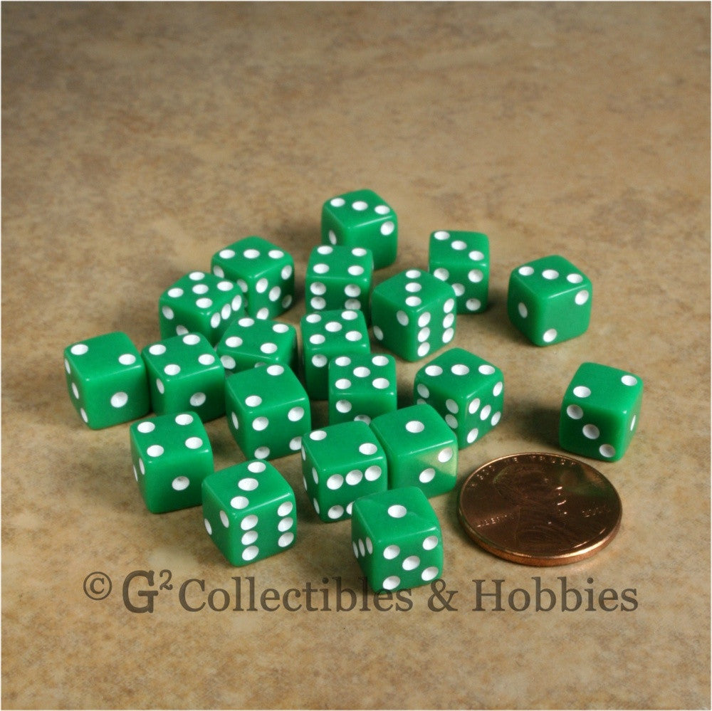 D6 8mm Opaque Green with White Pips 20pc Dice Set