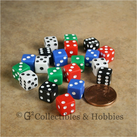D6 8mm Opaque Multicolored with White/Black Pips 20pc Dice Set