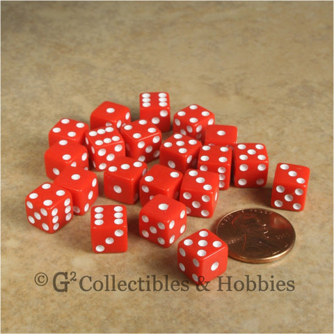D6 8mm Opaque Red with White Pips 20pc Dice Set