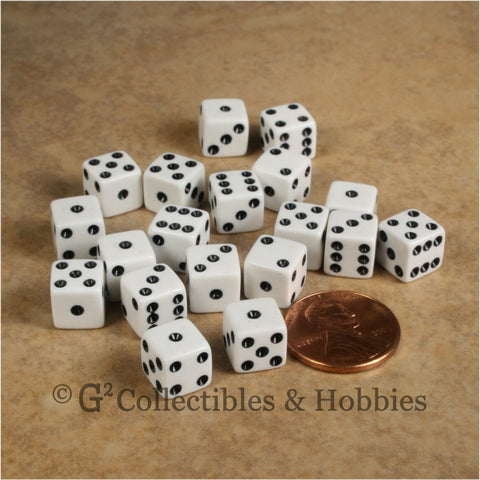 D6 8mm Opaque White with Black Pips 20pc Dice Set