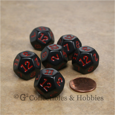 D12 RPG Dice Set : Opaque 6pc - Black with Red Numbers
