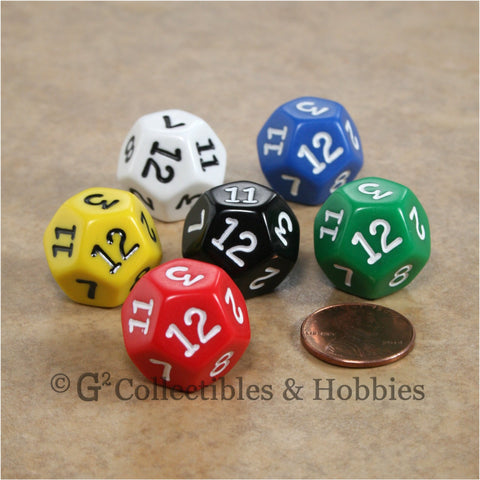 D12 RPG Dice Set : Opaque 6pc - 6 Colors