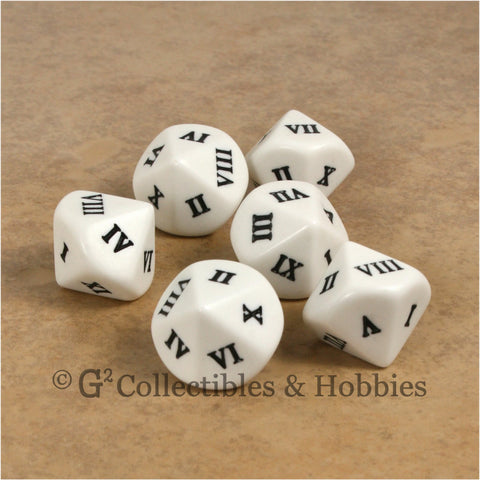 D10 Roman Numeral Large 20mm Dice Set - Set of 6