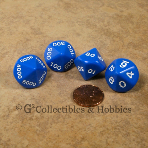 D10 Opaque Blue Place Value Dice Tens 4pc Set