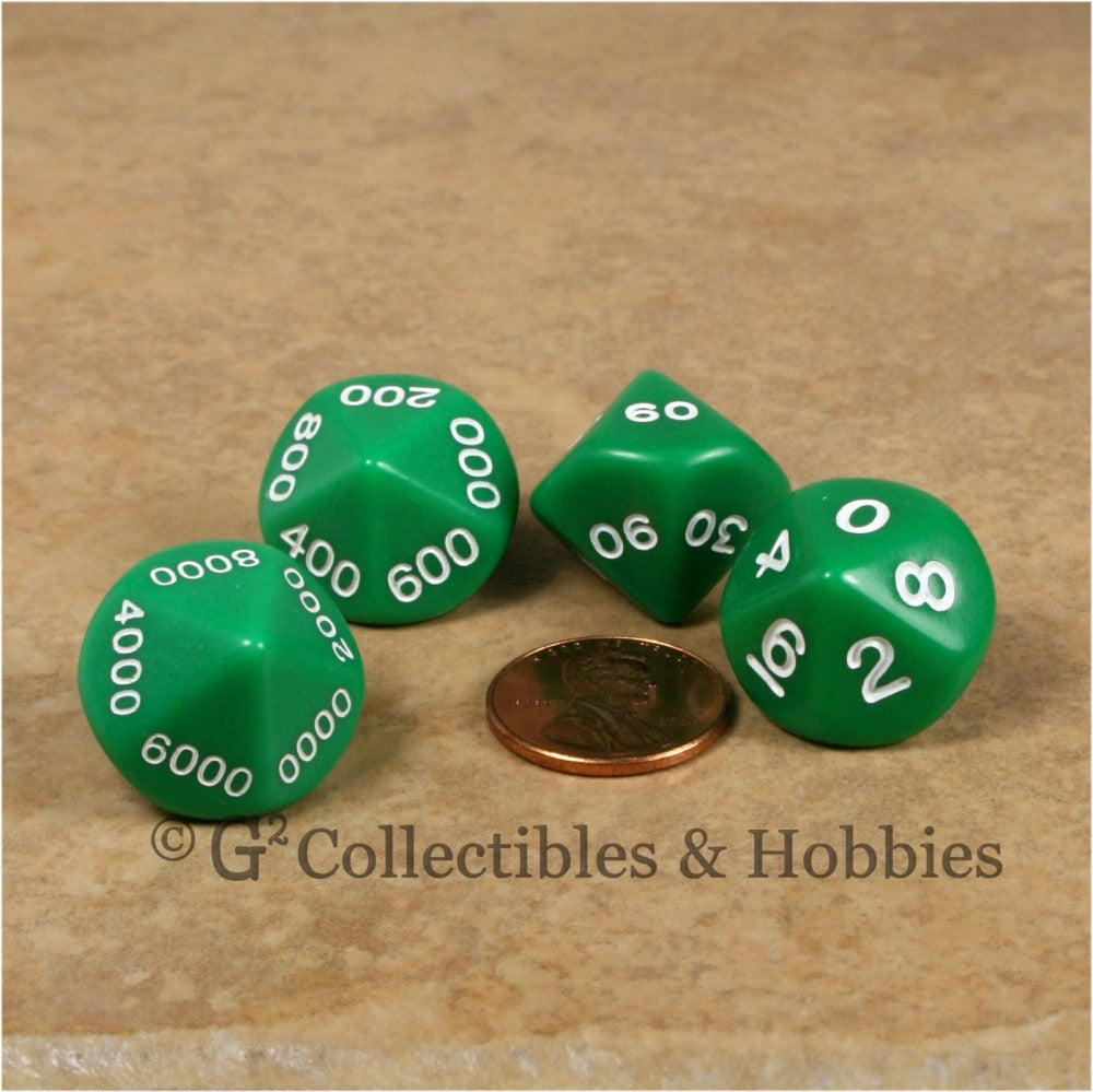 D10 Opaque Green Place Value Dice Tens 4pc Set