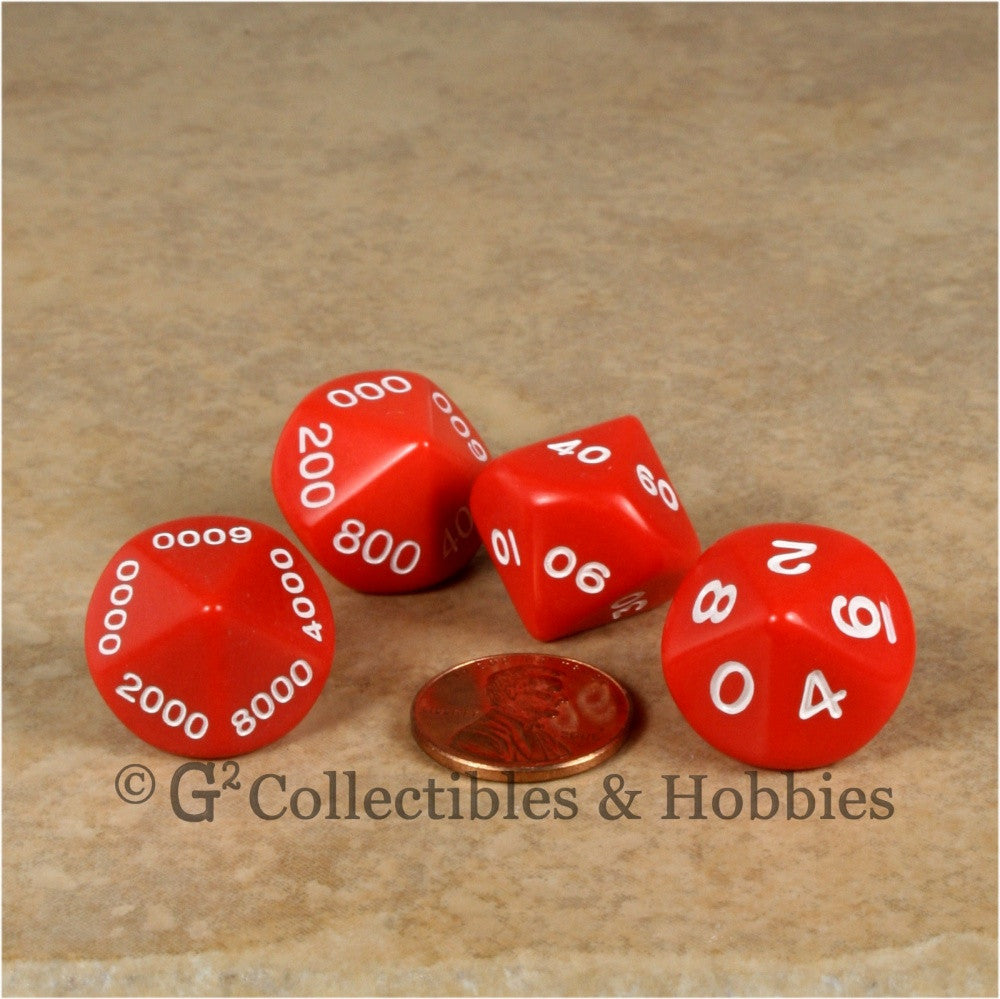 D10 Opaque Red Place Value Dice Tens 4pc Set