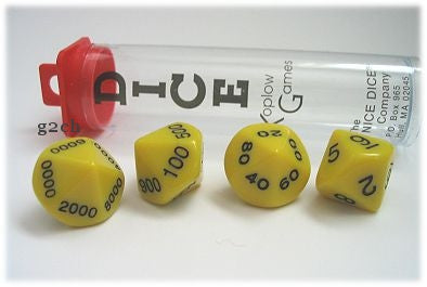 D10 Opaque Yellow Place Value Dice Tens 4pc Set