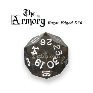 D30 Armory Razor Edged Gem Die Transparent Smoke