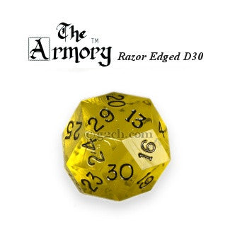 D30 Armory Razor Edged Gem Die Transparent Yellow w/Black