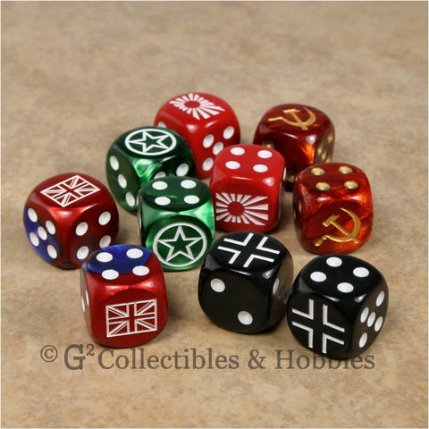 WWII Axis & Allies 10pc Dice - Set B