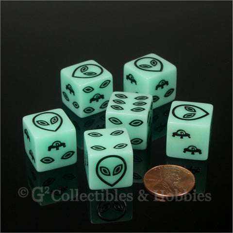 Alien UFO Glow in the Dark 6pc Dice Set - Black