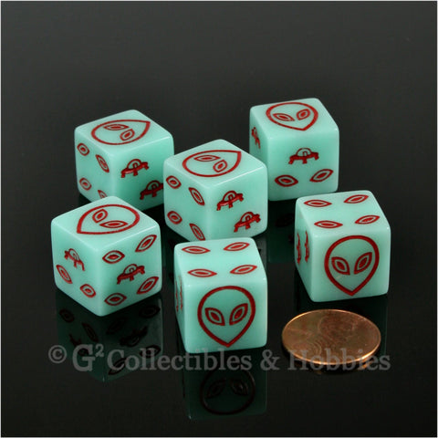 Alien UFO Glow in the Dark 6pc Dice Set - Red