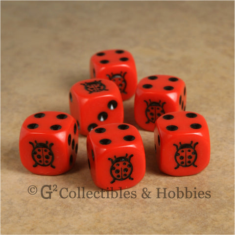 Ladybug 6pc Dice Set - Red