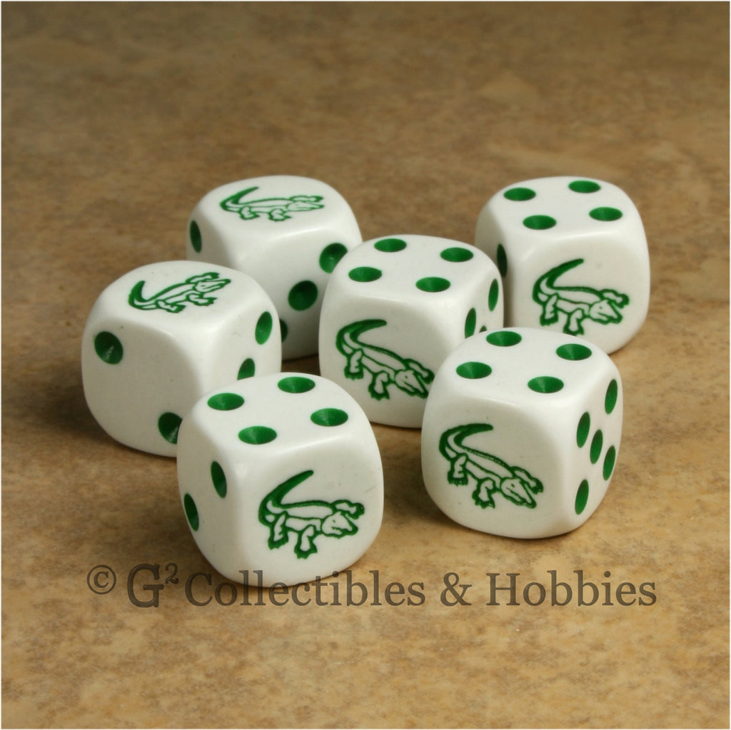 Alligator 6pc Dice Set - White