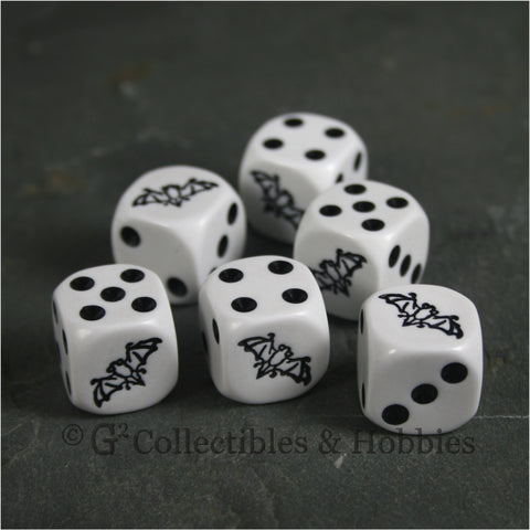 Bat 6pc Dice Set - White