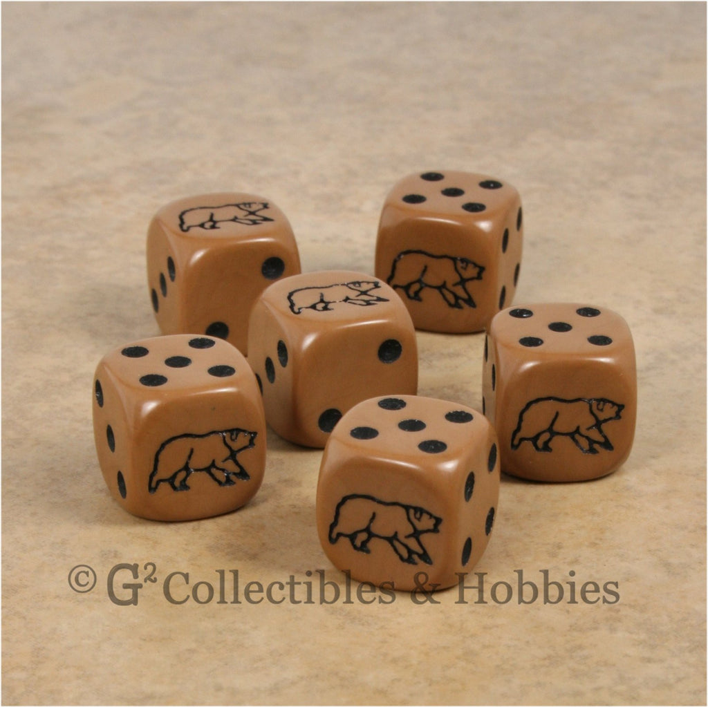 Bear 6pc Dice Set - Brown