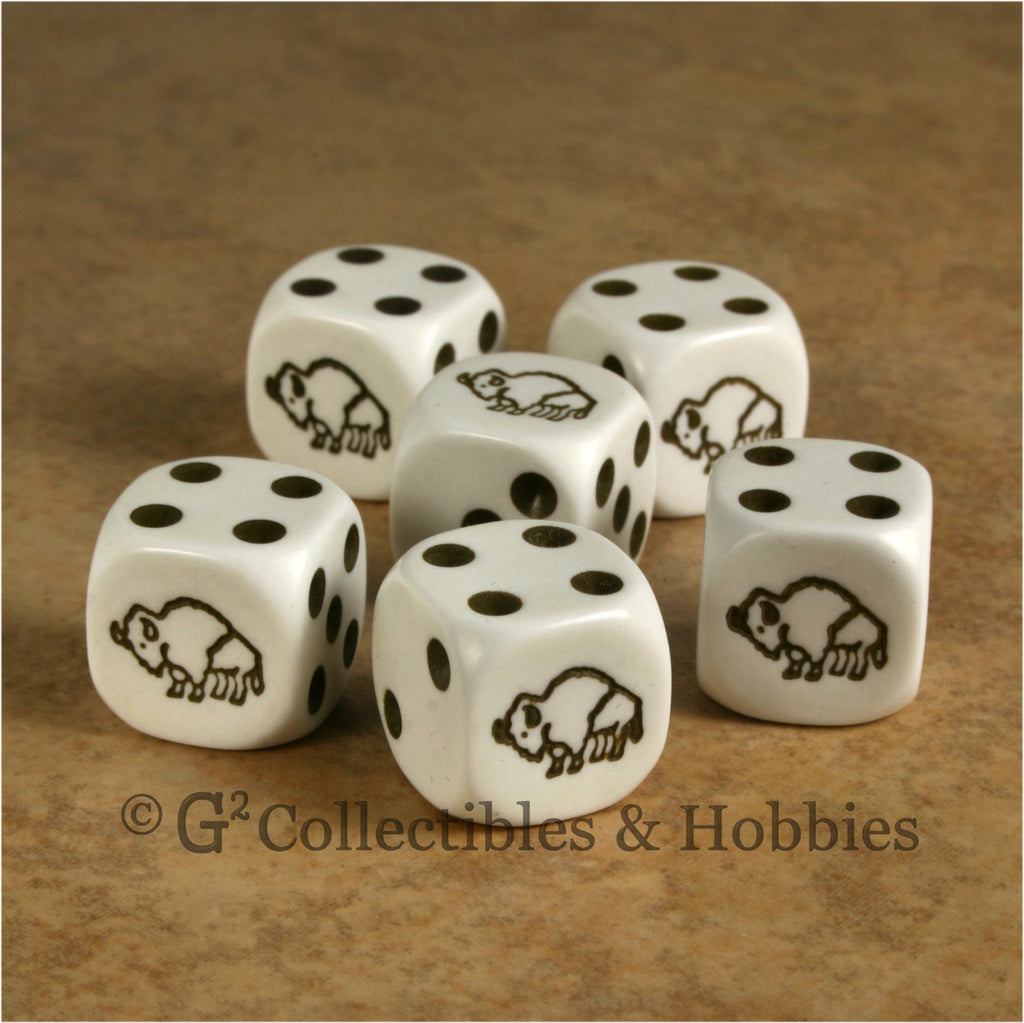 Bison 6pc Dice Set - White