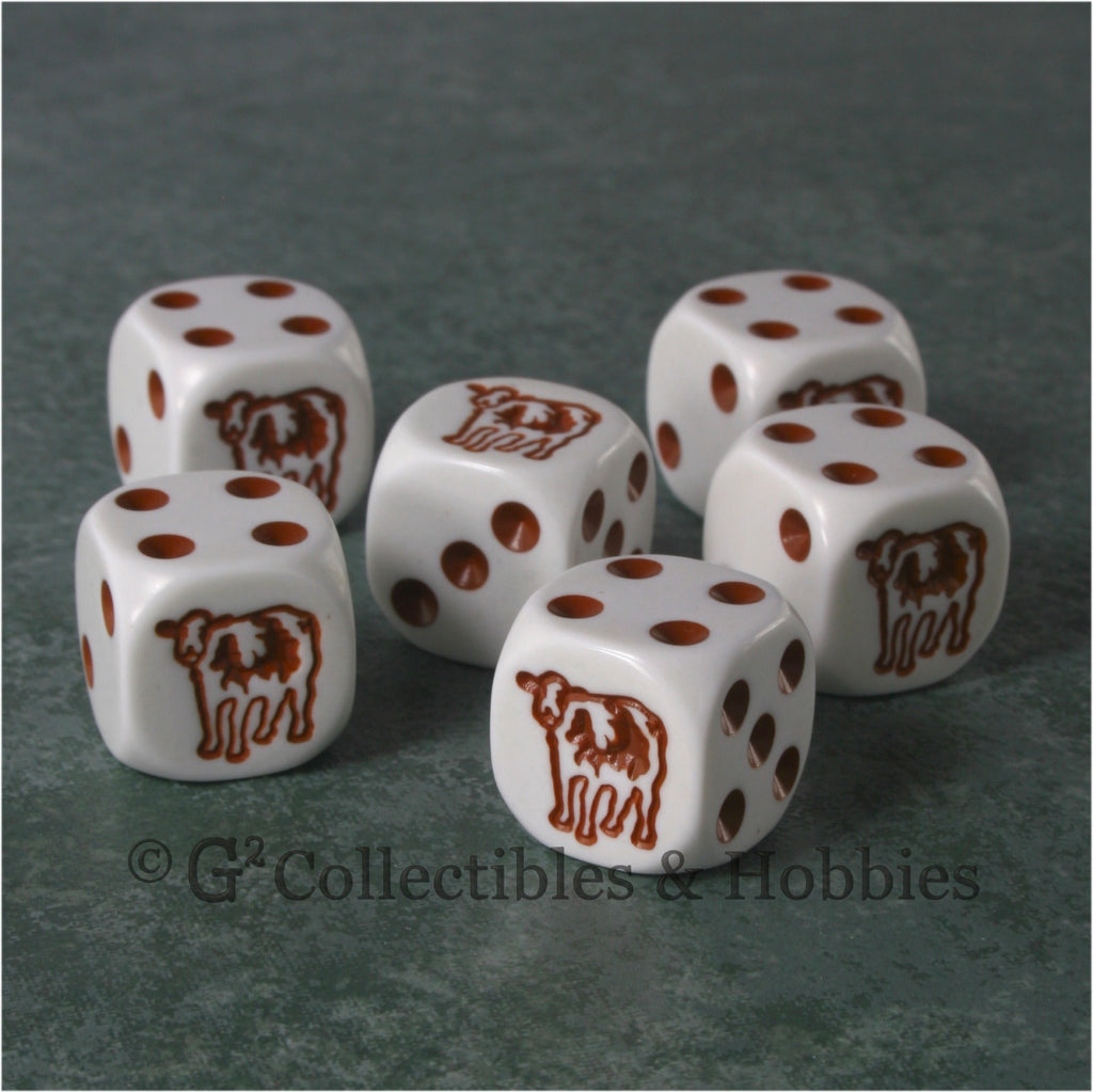 Cow 6pc Dice Set - Brown