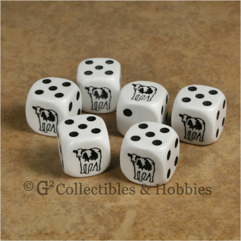 Cow 6pc Dice Set - Black