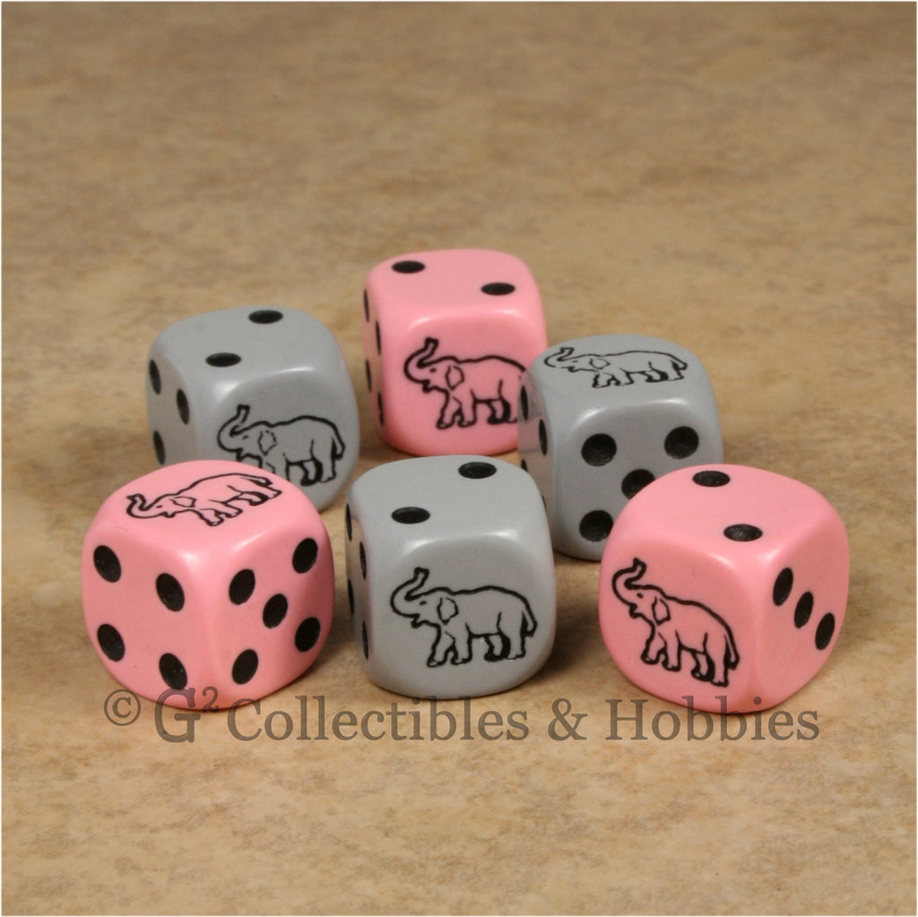 Elephant 6pc Dice Set - Pink & Gray