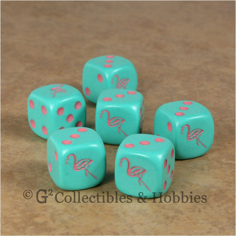 Flamingo 6pc Dice Set - Aqua