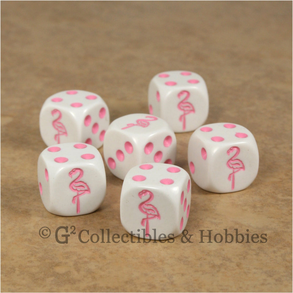 Flamingo 6pc Dice Set - White