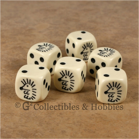 Hedgehog 6pc Dice Set - Ivory
