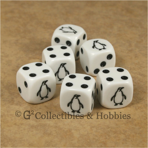 Penguin 6pc Dice Set - White