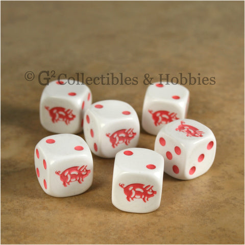 Pig 6pc Dice Set - White