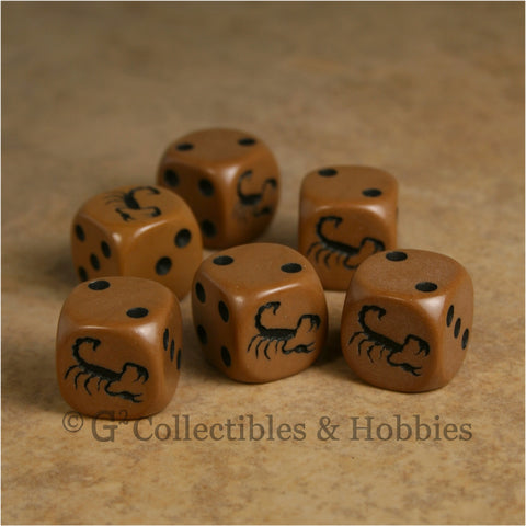 Scorpion 6pc Dice Set - Brown
