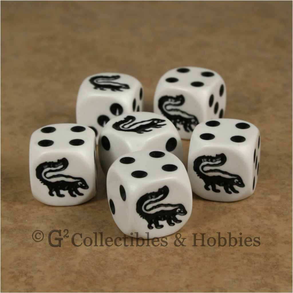 Skunk 6pc Dice Set - White