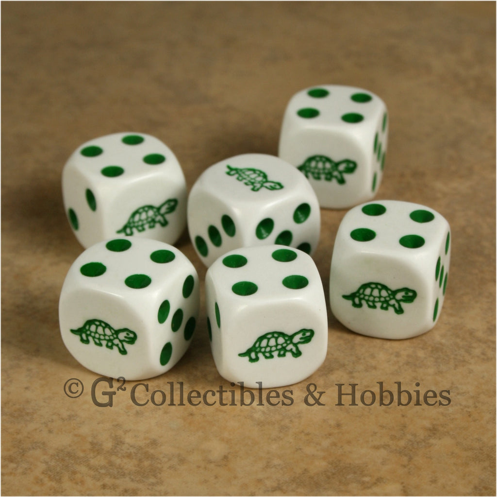 Turtle 6pc Dice Set - White
