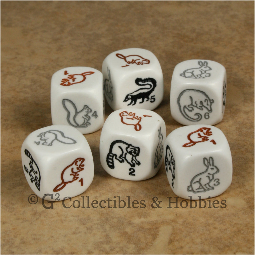 Woodland Animal 6pc Dice Set - White