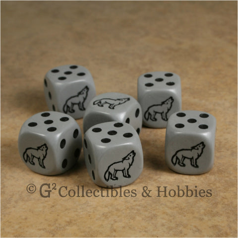 Wolf 6pc Dice Set - Gray