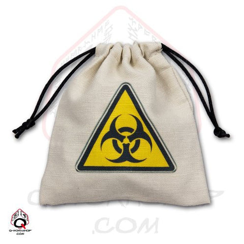 Dice Bag: Small White Linen Biohazard