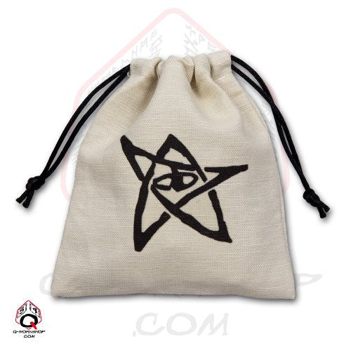 Dice Bag: Small White Linen Call of Cthulhu Elder Sign
