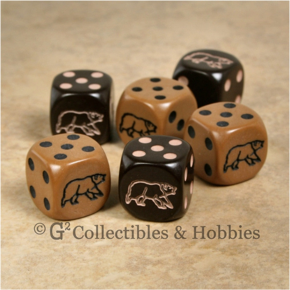 Bear 6pc Dice Set - Brown & Dark Brown
