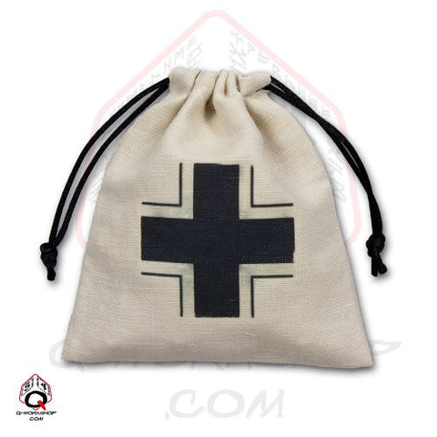 Dice Bag: Small White Linen WWII German Iron Cross