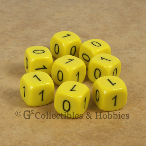 Binary Dice Numbers 0 & 1 D6 Set - 8pc Yellow