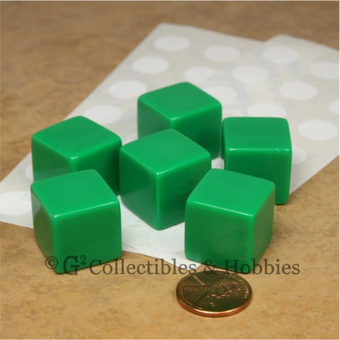 D6 19mm Blank Green 6pc Dice Set