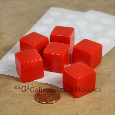 D6 19mm Blank Red 6pc Dice Set
