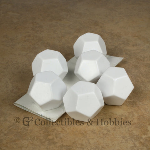 D12 25mm Blank White 6pc Dice Set